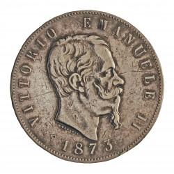Italia 5 Lira. 1873. M-(Milan). BN. AG. 25gr. Ley:0,900. Ø37mm. MBC-. (Raya anv.). KM. 8.3