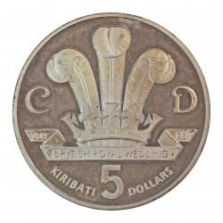 Kiribati 5 Dolar. 1981. AG. 28,6gr. Ley:0,925. (2ª Anv.Indep./Boda Carlos y Diana). Ø38mm. PRF. KM. 10 a