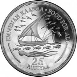 Maldivas.-Islas 25 Rufiyaa. 1978. AG. 28,05gr. Ley:0,925. (F.A.O.-Barca Sailing). Ø40mm. PRF. KM. 58 a
