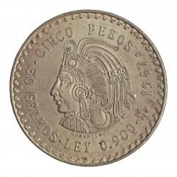 Mejico 5 Pesos. 1947. Mejico. AG. 30gr. Ley:0,900. (Imagen tipo). (Cuauhtemoc). Ø40mm. KM. 465