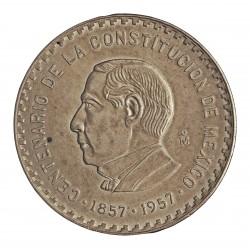 Mejico 10 Pesos. 1956. Mejico. AG. 28,88gr. Ley:0,900. (Imagen tipo). (100º Anv.constitución)). Ø40mm. KM. 475