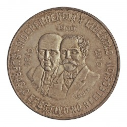 Mejico 10 Pesos. 1960. Mejico. AG. 28,888gr. Ley:0,900. (Imagen tipo). (150º Anv.Guerra Independencia). Ø40mm. KM. 476