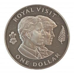 Nueva Zelanda 1 Dolar. 1983. AG. 27,21gr. Ley:0,925. (Visita Diana y Carlos). Ø38mm. PRF. KM. 52 a