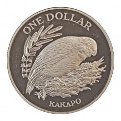 Nueva Zelanda 1 Dolar. 1986. AG. 27,216gr. Ley:0,925. (Pajaro Kakapo). Ø38mm. PRF. KM. 57 a