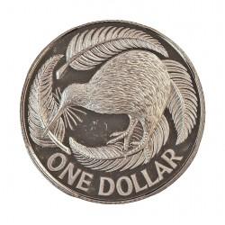 Nueva Zelanda 1 Dolar. 1990. AG. 8gr. Ley:0,925. (Pajaro Kiwi). Ø23mm. PRF. KM. 120