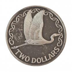 Nueva Zelanda 2 Dolar. 1990. AG. 10gr. Ley:0,925. (Pajaro Kotuku). Ø26,50mm. PRF. KM. 121