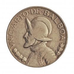 Panama ¼ Balboa. 1933. AG. 6,25gr. Ley:0,900. (N.de Balboa). Ø24mm. MBC. KM. 11.1
