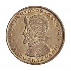 Panama ¼ Balboa. 1947. AG. 6,25gr. Ley:0,900. (N.de Balboa). Ø24mm. MBC+/EBC-. KM. 11.1