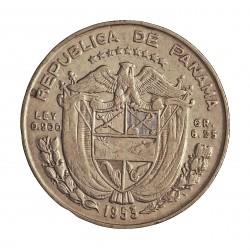 Panama ¼ Balboa. 1953. AG. 6,25gr. Ley:0,900. (N.de Balboa). Ø24mm. EBC-. KM. 19