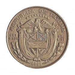 Panama ¼ Balboa. 1961. AG. 6,25gr. Ley:0,900. Ø24mm. EBC+/SC-. KM. 25
