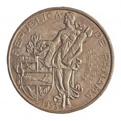 Panama 1 Balboa. 1953. AG. 26,73gr. Ley:0,900. (V.Nuñez). Ø38mm. EBC+/SC-. KM. 21