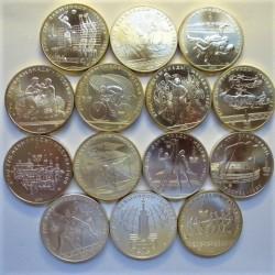 Rusia-URSS 5 Rublos. 1977. 1980. AG. 233,38gr. Ley:0,900. (14 Monedas de 5 Rublos). (SERIE COMPLETA-14 Mdas.)-(Olimp.-Moscu). Ø