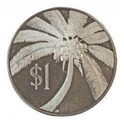 Samoa y Sisifo.-W. 1 Tala. 1974. AG. 31,15gr. Ley:0,925. (Palmera cocotera). Ø38mm. PRF. KM. 19 a