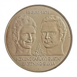 Suecia 50 Kronor. 1976. U. AG. 27gr. Ley:0,925. (Boda de Silvia y Carlos). Ø36mm. SC. KM. 854