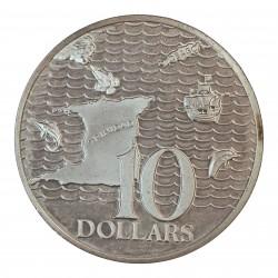 Trinidad y Tobago 10 Dolar. 1975. AG. 35gr. Ley:0,925. (Mapa de la isla y Navios). Ø42mm. PRF. KM. 24 a