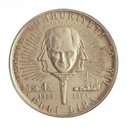 Turquia 50 Lira. 1973. AG. 13gr. Ley:0,900. Ø30mm. SC. KM. 902