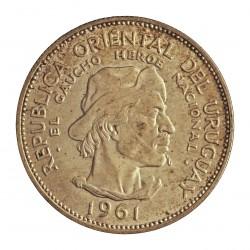 Uruguay 10 Pesos. 1961. AG. 12,5gr. Ley:0,900. (El Gaucho-Heroe). Ø33mm. SC-. KM. 43