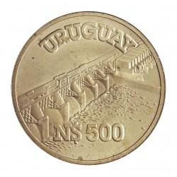 Uruguay 500 Pesos. 1983. AG. 12gr. Ley:0,900. (Represa de 1973). Ø33mm. SC. KM. 82