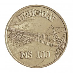 Uruguay 100 Pesos. 1981. Sº(Santiago). AG. 12gr. Ley:0,900. (Presa de Salto Grande). Ø33mm. SC. KM. 80