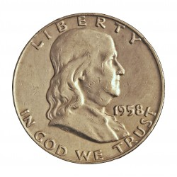 Usa ½ Dolar. 1958. D-(Denver). AG. 12,5gr. Ley:0,900. (Franklin). Ø30mm. MBC+. KM. 199