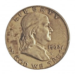 Usa ½ Dolar. 1962. D-(Denver). AG. 12,5gr. Ley:0,900. (Franklin). Ø30mm. MBC+. KM. 199