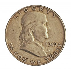 Usa ½ Dolar. 1949. Filadelfia. AG. 12,5gr. Ley:0,900. (Franklin). Ø30mm. MBC. KM. 199