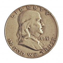 Usa ½ Dolar. 1951. S-(St.Francisco). AG. 12,5gr. Ley:0,900. (Franklin). Ø30mm. MBC-. KM. 199