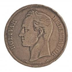 Venezuela 5 Bolivares. 1910. AG. 25gr. Ley:0,900. (S. Bolivar). Ø37mm. MBC-. KM. 24.2