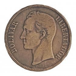 Venezuela 5 Bolivares. 1919. AG. 25gr. Ley:0,900. (S. Bolivar). Ø37mm. MBC-. KM. 24.2