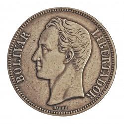 Venezuela 5 Bolivares. 1935. AG. 25gr. Ley:0,900. (Simon Bolivar). Ø37mm. MBC. KM. 24.2