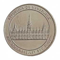 Venezuela 100 Bolivares. 1986. AG. 31,1gr. Ley:0,900. (200º Anº.Nacimiento de J.M.Vargas). Ø35mm. SC/SC-. KM. 60