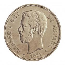 España 5 Ptas. 1871. *18*75. Madrid. DEM. MBC-/MBC. (Marqitq ven campo anv..gpcto..Bonito). AG. 25gr. Ø37mm. AUC. 7