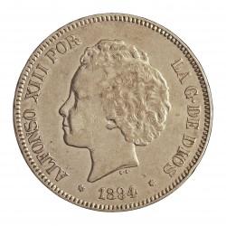 España 5 Ptas. 1894. *18*94. Madrid. PGV. MBC. AG. 25gr. Ø37mm. CT. 24 - HG. 150