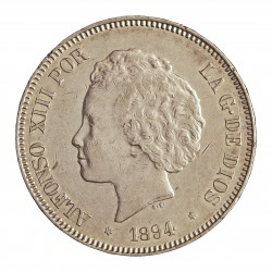 España 5 Ptas. 1894. *18*94. Madrid. PGV. EBC-/EBC. (Muy nuevo con marquitas. Muy bonito). AG. 25gr. Ø37mm. CT. 24 - HG. 150