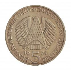 Alemania Federal-(1948/..) 5 Marcos. 1974. F-(Stuttgart). AG. 11,2gr. Ley:0,625. (Imagen tipo). (25º Anv.Const.Law). Ø29mm. SC-