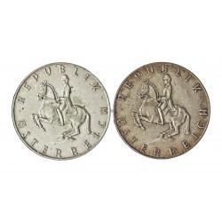 Austria-(y Estados) LOTE. 1960. 1961. AG. 10,4gr. Ley:0,640. (Dos monedas de 5 Shilling:). Ø23mm. EBC. KM. 2889