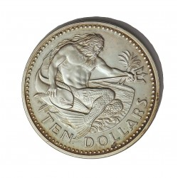 Barbados 10 Dolar. 1974. AG. 37,9gr. Ley:0,925. (Neptuno). Ø42mm. PRF. KM. 17 a