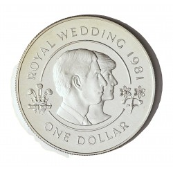 Bermuda 1  Dolar. 1981. AG. 28,28gr. Ley:0,925. (Boda Carlos y Diana). Ø38mm. PRF. KM. 28 a