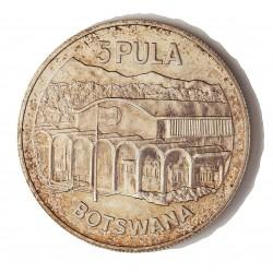 Botswana 5 Pula. 1976. AG. 28,28gr. Ley:0,500. (10º Anv.Independencia). Ø38mm. SC. KM. 9