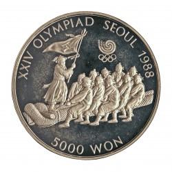 Corea del Sur 5000 Won. 1986. AG. 16,81gr. Ley:0,925. (Olimp.Seul-Sogatira). Ø32mm. PRF. KM. 55