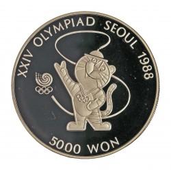 Corea del Sur 5000 Won. 1986. AG. 16,81gr. Ley:0,925. (Olimp.Seul-Mascota). Ø32mm. PRF. KM. 54