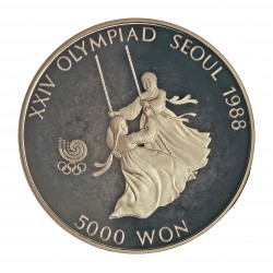 Corea del Sur 5000 Won. 1987. AG. 16,81gr. Ley:0,925. (Olimp.Seul-Niñas en el Columpio). Ø32mm. PRF. KM. 67