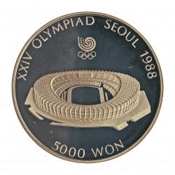 Corea del Sur 5000 Won. 1987. AG. 16,81gr. Ley:0,925. (Olimp.Seul-Estadio). Ø32mm. PRF. KM. 60
