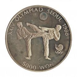 Corea del Sur 5000 Won. 1987. AG. 16,81gr. Ley:0,925. (Olimp.Seul-Tae Kwon Do). Ø32mm. PRF. KM. 66