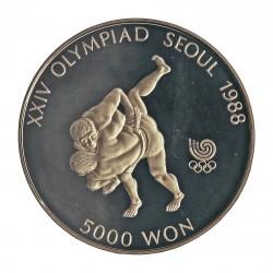 Corea del Sur 5000 Won. 1988. AG. 16,81gr. Ley:0,925. (Olimp.Seul-Lucha). Ø32mm. PRF. KM. 70
