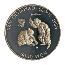 Corea del Sur 5000 Won. 1988. AG. 16,81gr. Ley:0,925. (Olimp.Seul-Niños jugando). Ø32mm. PRF. KM. 71