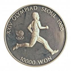 Corea del Sur 10000 Won. 1986. AG. 33,62gr. Ley:0,925. (Olimp.Seul-Maraton). Ø39mm. PRF. KM. 56