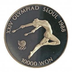 Corea del Sur 10000 Won. 1986. AG. 33,62gr. Ley:0,925. (Olimp.Seul-Gimnasia). Ø39mm. PRF. KM. 74