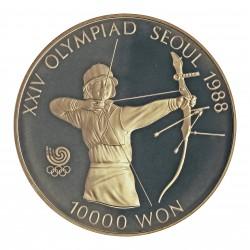 Corea del Sur 10000 Won. 1987. AG. 33,62gr. Ley:0,925. (Olimp.Seul-Tiro con Arco). Ø39mm. PRF. KM. 62