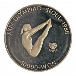 Corea del Sur 10000 Won. 1987. AG. 33,62gr. Ley:0,925. (Olimp.Seul-Natación). Ø39mm. PRF. KM. 57